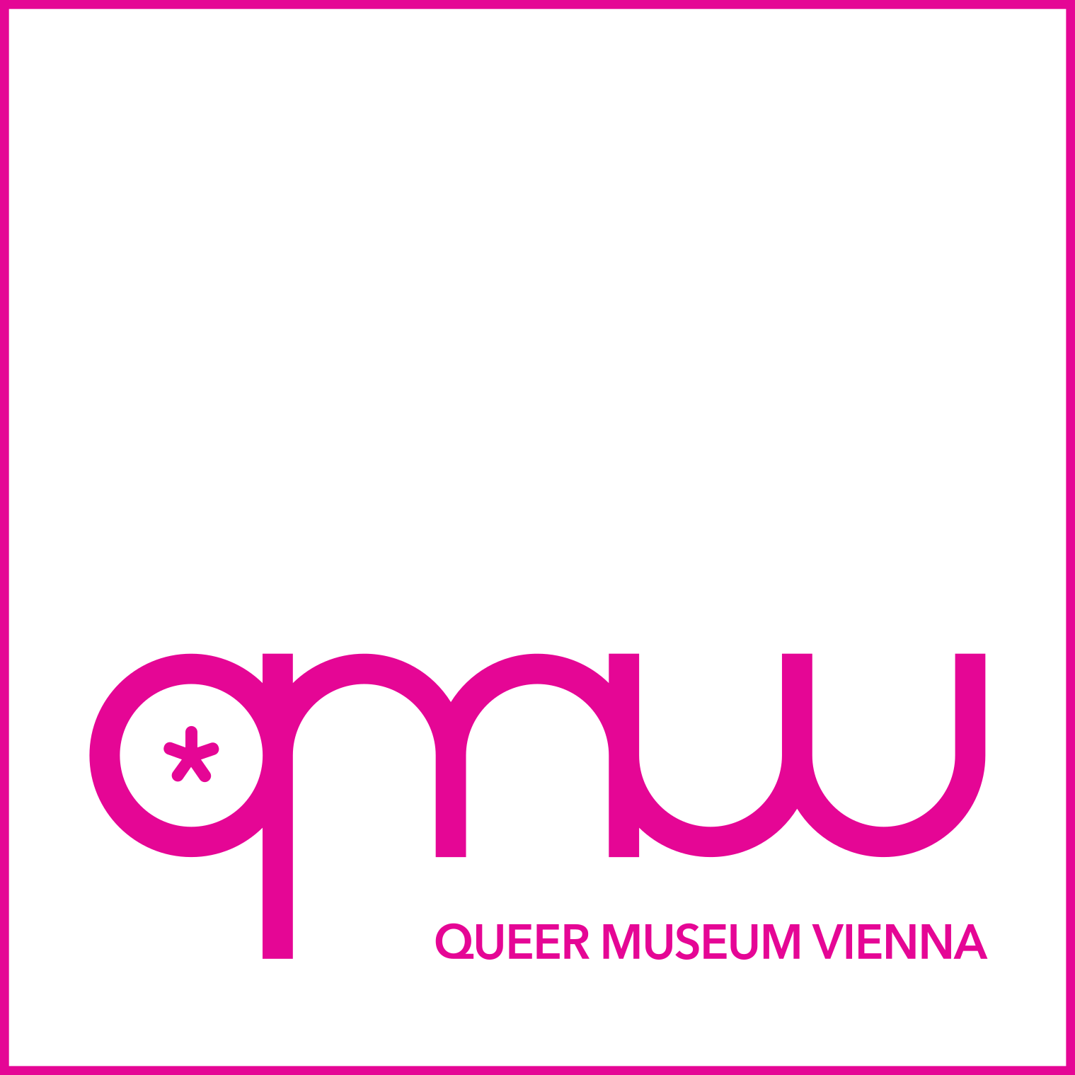 German Logo of the Queer Museum Vienna consists of rounded versions of the letters q, m, and w with an asterix in the center of the q. They are magenta on a monochrome white background.